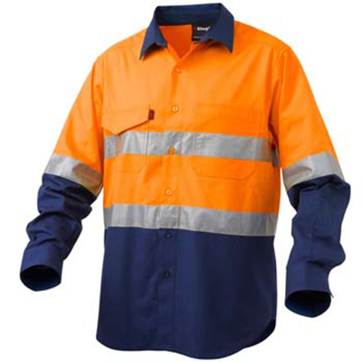 King Gee Shirt - 2 Tone HiVis Long Sleeve