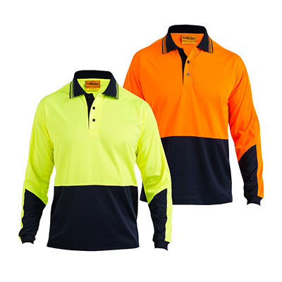 Master HiVis micromesh Polo - Long Sleeve